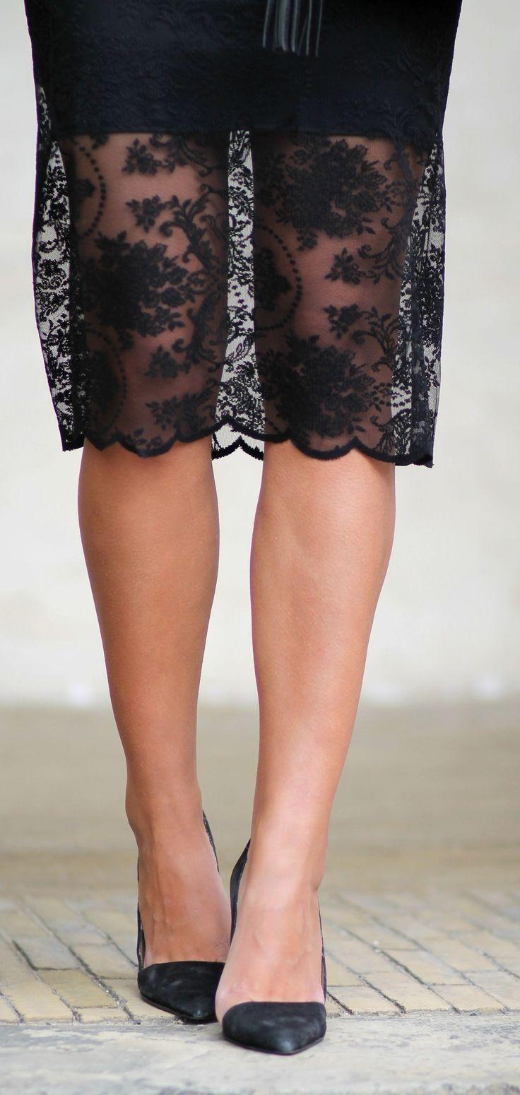 Lace Hem Skirt Chic Style by Natulia