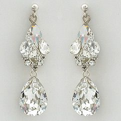 Erin Cole Couture Crystal Bridal Earrings Stunning Teardrop Exquisite Wedding