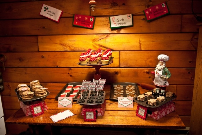 Santa's Kitchen Christmas Baking Party - love the use of baking pans to serve desserts!: Desserts Buffet, Desserts Table, Mondays, Kitchens Christmas, Santa Kitchens, Serving Cupcakes, Desserts Bar