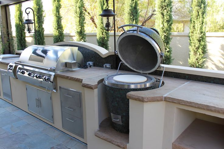 Built in kamado backyard kitchen pinterest for Outdoor barbecues built in