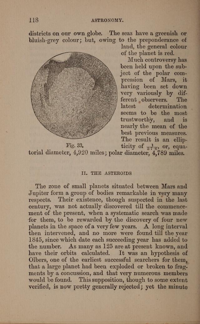 "1873, ""clearly indicate the existence of continents and seas; but, curiously enough, the larger portion of the surface would apear to be land"" p117 Introduction to astronomy"