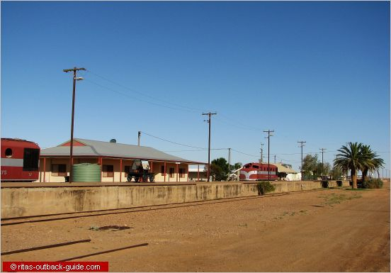 Abandoned railway platform and locomotives in Marree, South Australia. This is a tiny settlement with a fascinating history.