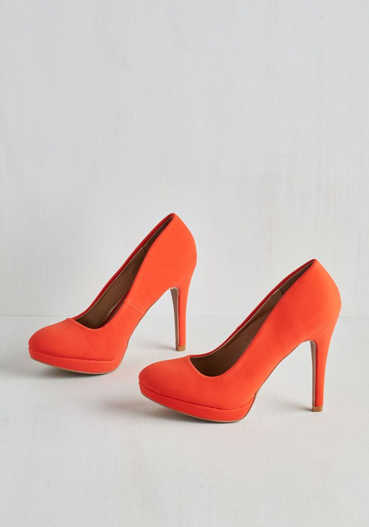 Pump it Up Heel in Tangerine. Give your sneaks a rest and add some verve to your day's ensemble! #orange #modcloth