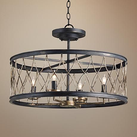 """Currey and Company Crisscross 22"""" Wide Black Chandelier, $1120"""