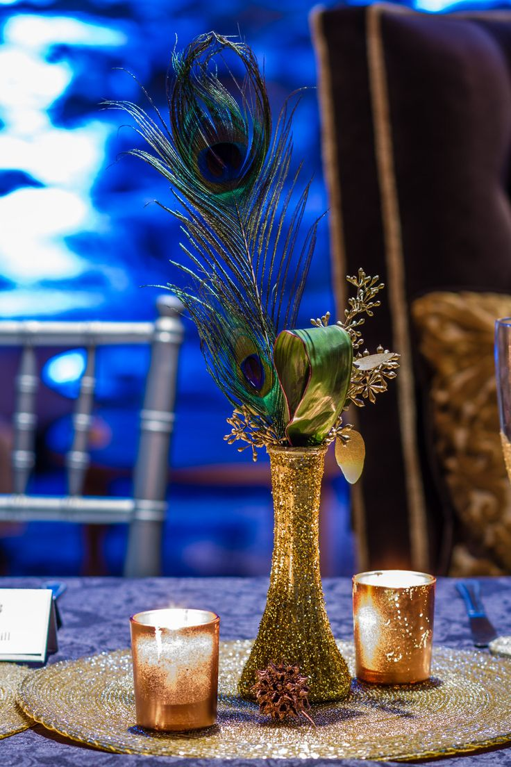 Peacock Feather with Gold Vase Centerpiece