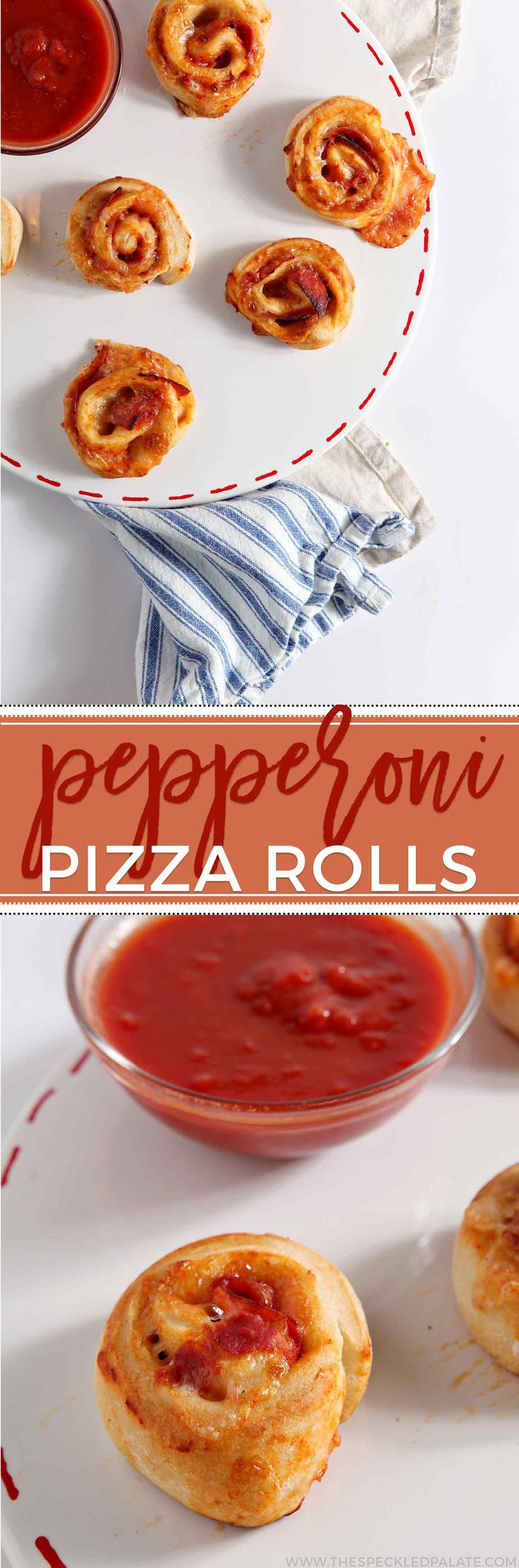 Serve up Pepperoni Pizza Rolls to feed a crowd! Store-bought pizza dough is rolled flat, then filled with tomato sauce, mozzarella cheese and pepperoni, then rolled into pinwheels and baked to make the ultimate gameday appetizer.