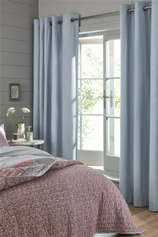 Chambray Cotton Blackout Eyelet Curtains Studio Collection By Next