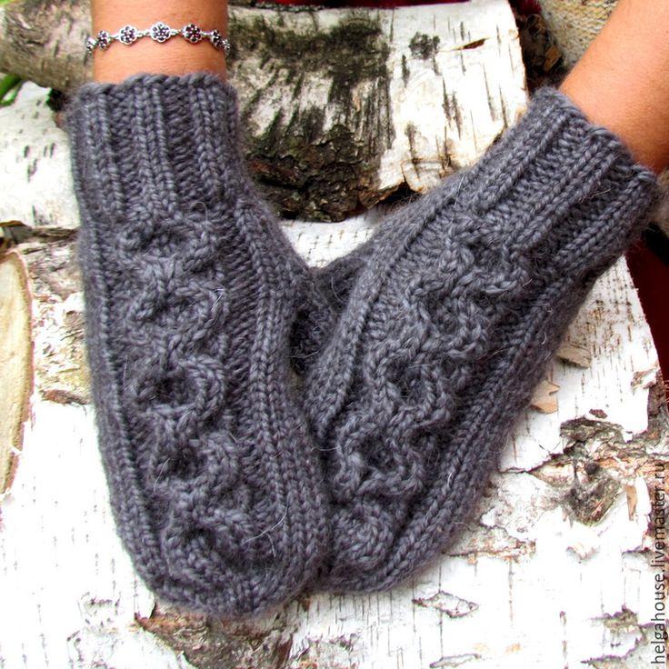 Купить Варежки вязаные женские серые - серый, варежки ручной работы, варежки, варежки вязаные