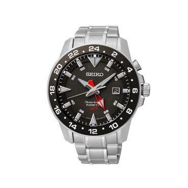 SUN015P1 Ανδρικό Kinetic ρολόι SEIKO της σειράς Sportura με μαύρο καντράν & μπρασελέ από ανοξείδωτο ατσάλι και με ένδειξη ώρας GMT. Αποστολή εντός 24 ωρών #Seiko #sportura #μαυρο #μπρασελε #ρολοι
