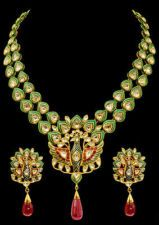 This one made my jaw drop! Beautiful Enamel (Kundan Meena) Necklace Set in 22k Gold Ruby drops & Diamonds