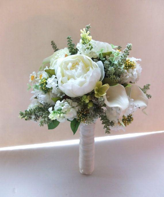 Bridal Bouquet, White Peonies & Scabiosa wedding bouquet