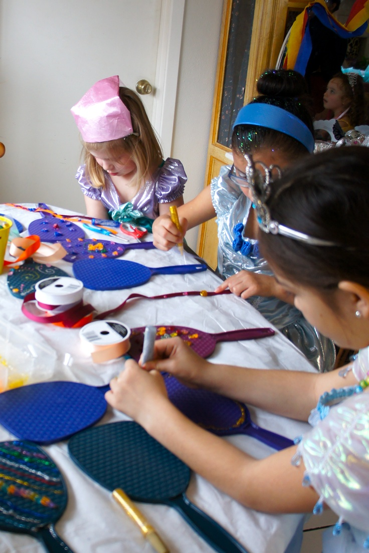 Snow White Princess Tea Party - have the girls decorate mirrors from the dollar store with glitter glue and pretty beads