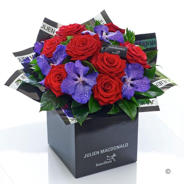 Two of the most enchanting flower varieties feature in this sumptuous bouquet. A striking partnership of the finest quality exotic purple orchids, partnered with magnificent velvety roses in classic red – this is a magical gift that is both naturally stylish and wonderfully luxurious.