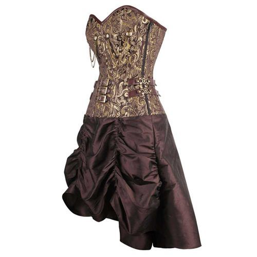 Steampunk gedrapeerde korset jurk met gesp detail en brokaat patroon goud/bruin - Gothic