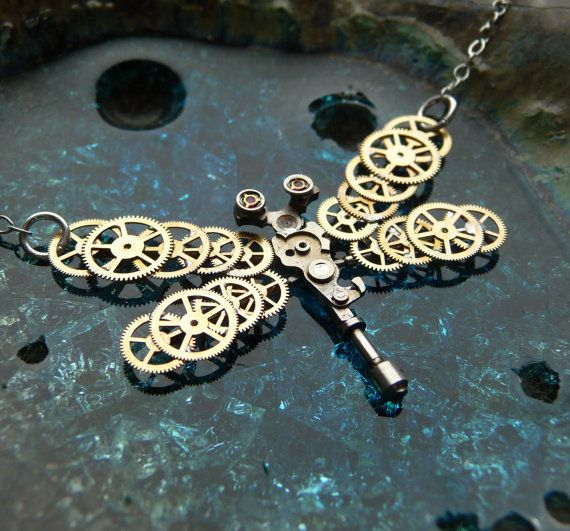 Clockwork Dragonfly Necklace by amechanicalmind