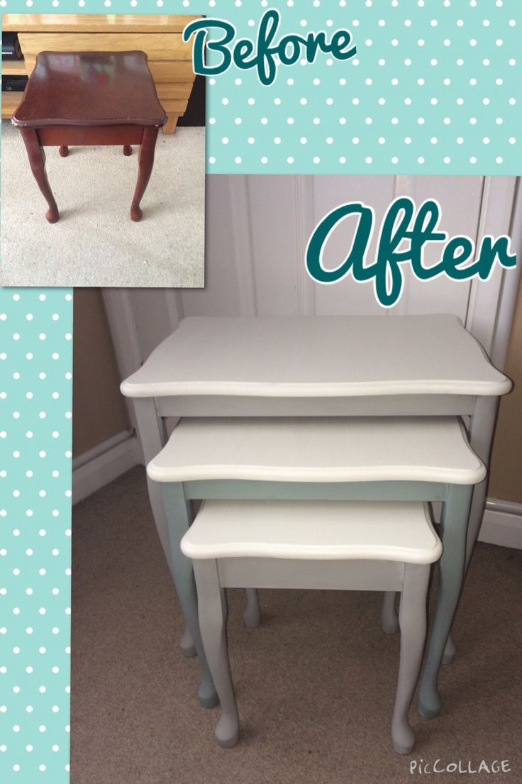 Nest of tables upcycled. Painted in Annie Sloan Paris grey, Duck egg blue and Old white. And finished in clear wax.