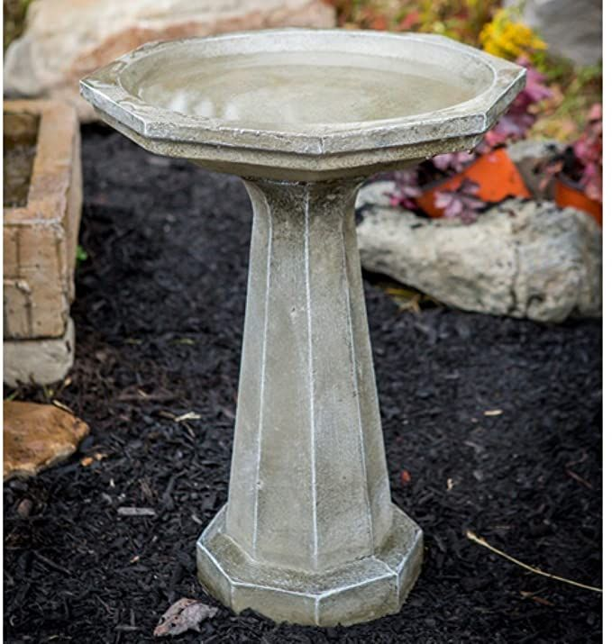 Amazon Com Athena Garden Cast Stone Large Octagon Bird Bath Garden Outdoor In 2020 Stone Bird Baths Concrete Bird Bath Bird Bath