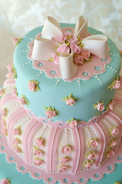 gorgeous cake from a tea party.  Source unknown - please credit if this is yours.
