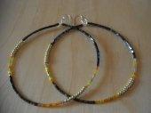 Large hoop beaded earrings
