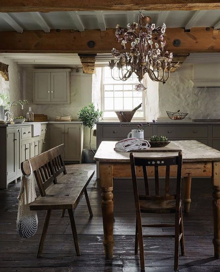 Rustic country kitchen with toleware light