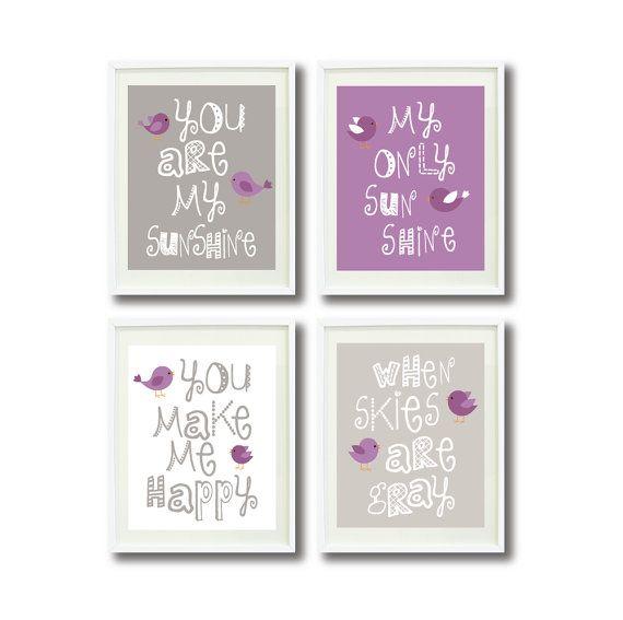 You Are My Sunshine-Set of Four Art Prints-11x14-Kids Room, Nursery, Home Decor-White, Lavender, Purple, Grey/Gray-Birds via Etsy
