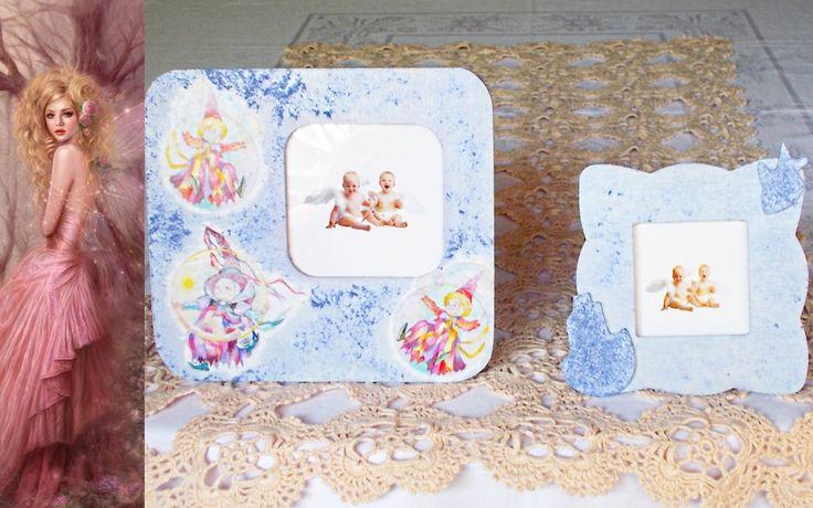 Coppia di cornici in legno decorate con decoupage pittorico nelle tonalità viola e lilla glicine : Accessori casa di lady-bijoux-handmade
