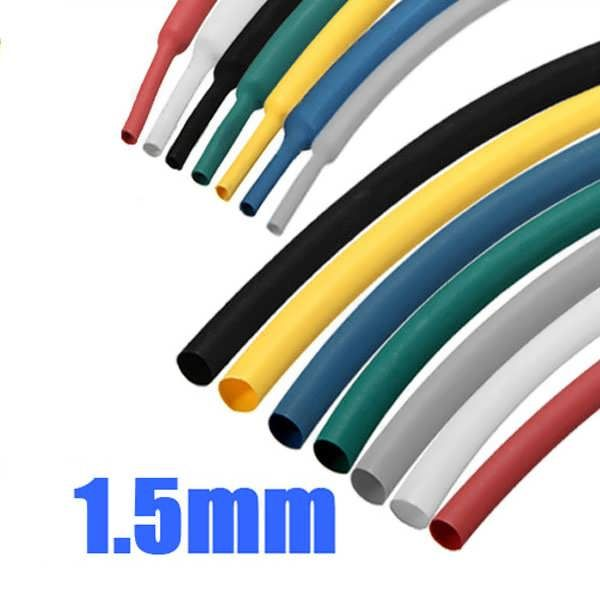 Description :  1m 1.5mm 7 Color 2 : 1 Polyolefin Heat Shrink Tubing Tube Sleeving Wrap Supplied internal diameter : 1.5 mm minimum Fully shrunk internal diameter : 0.75mm maximum Colour : Black, Blue, Green, Grey, Red, White, Yellow Length : 1M Shrinkage Ratio : 2 : 1 (will shrink...