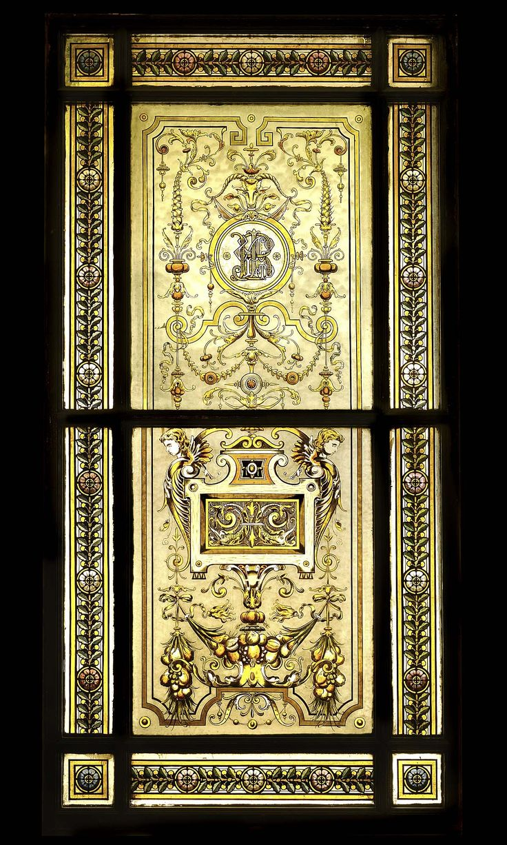 Antique stained glass doors - Neo Renaissance Stained Glass Window