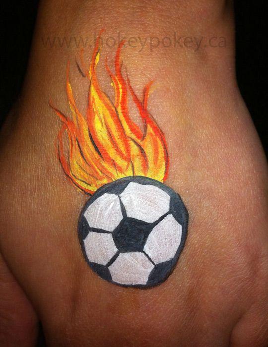 Football face paint flame cheek art sports