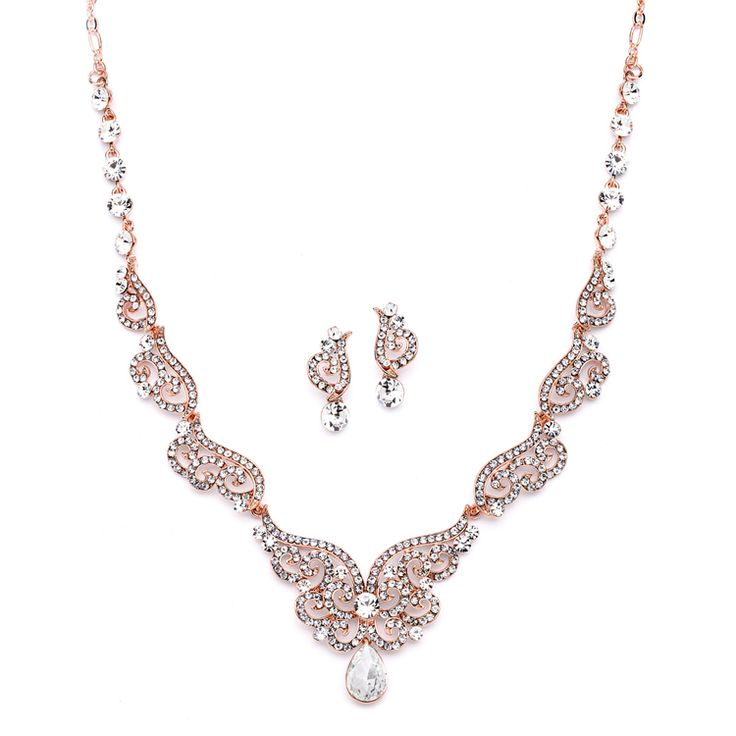 Rose Gold Art Deco Wedding and Prom Jewelry Set - Affordable Elegance Bridal -