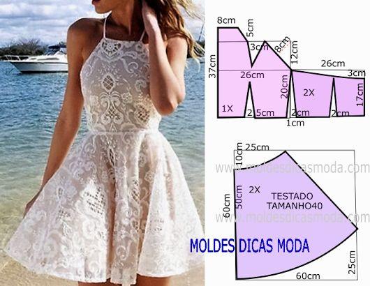 VESTIDO DE RENDA -87 - Moldes Moda por Medida