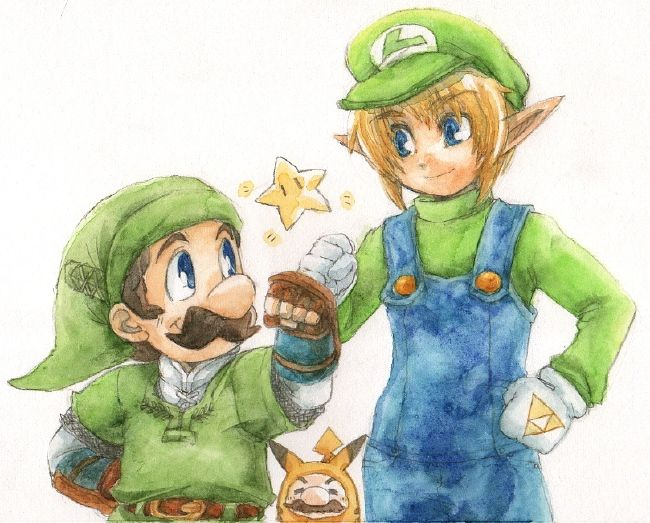 Note the fact that Mario is cosplaying as Pikachu at the bottom. LOL. Amazing fan art. Imagine Link and Luigi having their own game together!!!