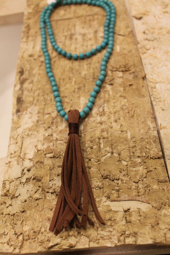 Turquoise Necklace with Tassel on Etsy