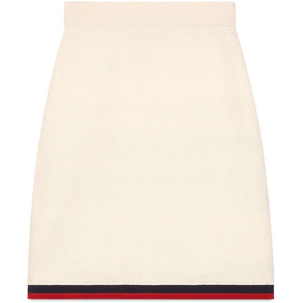 Gucci Wool Skirt With Web (43,250 DOP) ❤ liked on Polyvore featuring skirts, bottoms, ready-to-wear, women, pink skirt, woolen skirt, gucci, wool skirt and pink wool skirt