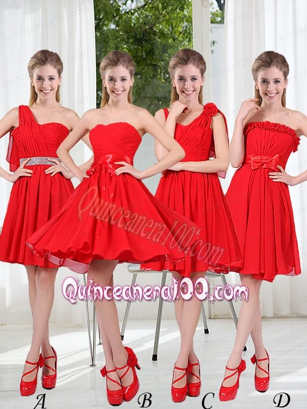 Brand New Style Dama Dresses Chiffon Ruching with A Line