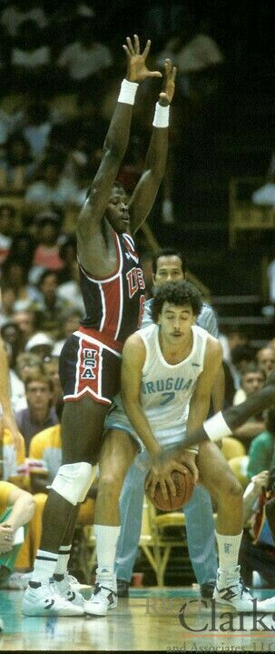 Georgetown giant Patrick Ewing puts up an impenetrable wall against Uruguay during the 84 Olympics in L.A.