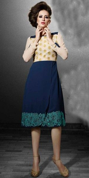 Dynamic Navy Blue And Cream Georgette Kurti