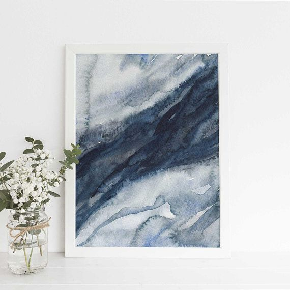 Abstract Print Ink Navy Blue Indigo Printable Wall Art Minimalist