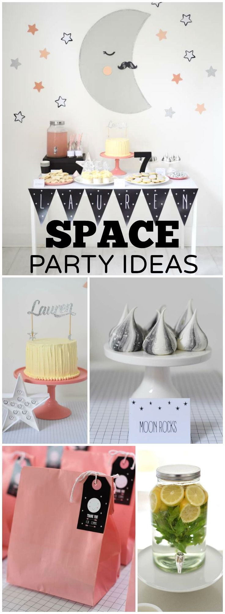How cool is this girly space themed birthday party! See more party ideas at CatchMyParty.com!