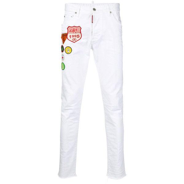 dsquared2 Trouser ($565) ❤ liked on Polyvore featuring men's fashion, men's clothing, men's pants, men's casual pants, white, mens white pants, mens skinny pants, mens zip off pants, mens skinny fit dress pants and men's five pocket pants