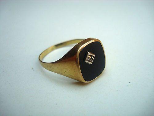 herren ring gold 333 mit onyx und diamant siegelring art. Black Bedroom Furniture Sets. Home Design Ideas