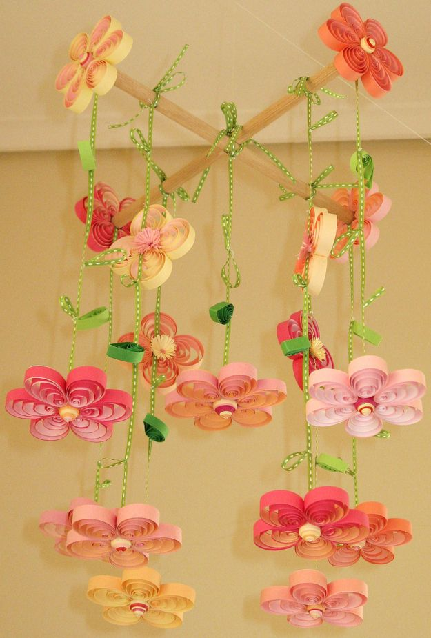 Quilled Crib Mobile | 18 Super Cute Handmade Baby Shower Gifts