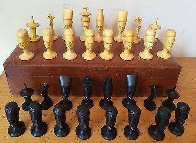 Antique Vintage African Tribal Folk Art Hand-Carved Wooden 32 Piece Chess Set