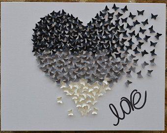 Ombre 3d butterfly wall art/Butterfly heart wall decor/3d butterfly canvas/Black grey cream butterflies/Birthday/Anniversary/Wedding