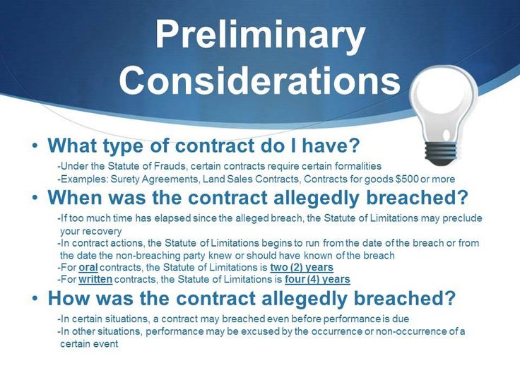 a case study about breach of business contract We sued the insurance company for breach of contract before the hearing, the insurance company agreed to honour the policy in full and pay her legal costs case study 2 – breach / termination of an oral contract our client was a major supplier to a multinational retailer for a number of years over the course of their.