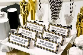 #AcademyAwards #Oscars #Decor #Decorations #Ideas #DIY #Party #Parties #Table #name #cards for each Oscar #category along with food & drink items.