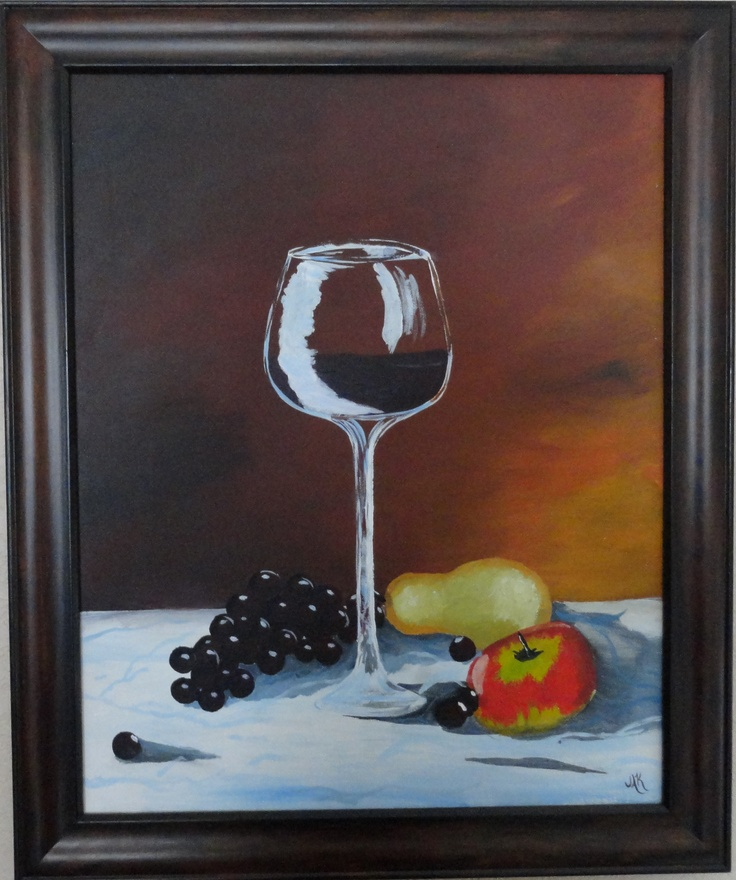 Wine & fruit still life done with acrylics on canvas.