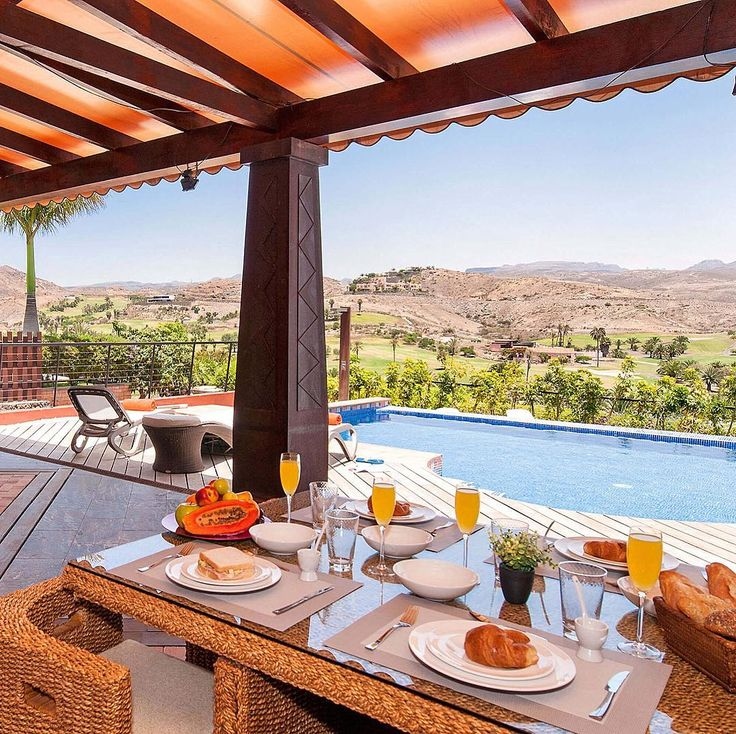Breaktfast with golf course views on Gran Canaria, Canary Islands, Spain