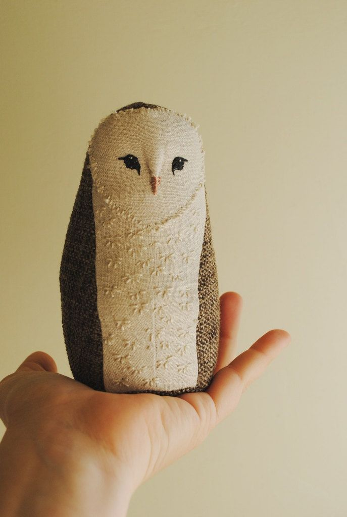 Baby barn owl soft sculpture / textile art / stuffed animal / soft toy by willowynn on Etsy