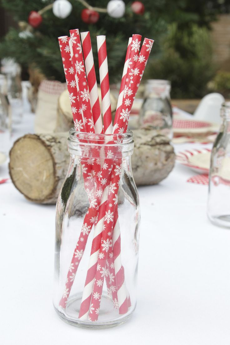 Red and white Christmas paper straws, candy cane and snowflakes galore! | The Paper Lantern |